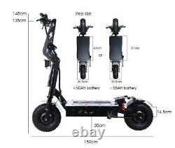 72v 8000w 14 Fat Wheel Mountain Electric Scooter Dual Motor Battery Top Speed