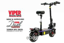 Electric Scooter 1600W X 2 = 3200W 60V 26Ah Samsung, Viper Duel New 2020 Model