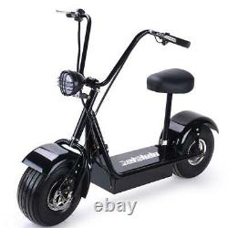 MotoTec FatBoy 48V 800W Electric Scooter 15 Tire Seat Black Kids Adults Ride US