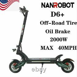 NANROBOT Electric Scooter D6+ 2000W Adult Fold Off-Road Hydraulic Brakes US Ship