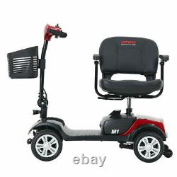 New Folding Electric Powered Mobility Scooter 4 Wheel Travel Elderly Scooter Red