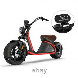 SoverSky Chopper Motorcycle 2000W 60V/20Ah Lithium Fat Tire Scooter M2 Black