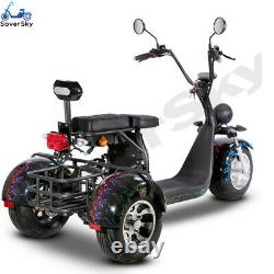 SoverSky Electric 3 Wheeler Moped for Adults 2000w Lithium Tricycle T7.1 Blue