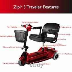 Zip'r 3 Traveler 3-Wheel Long Range Portable Foldable Mobility Scooter (Red)